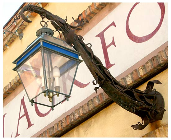 iron lamp over door